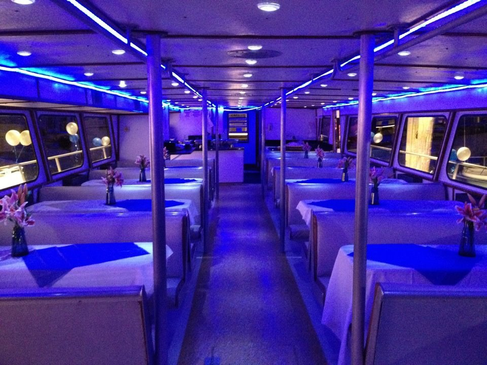 Galley of Starstream VIII all set up for a party