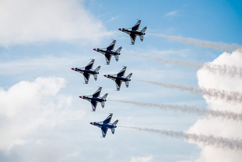 Thunderbirds flying in the air for the jones beach air show